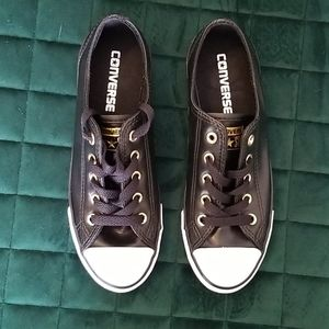 Brand new black leather Converse sneakers size 5